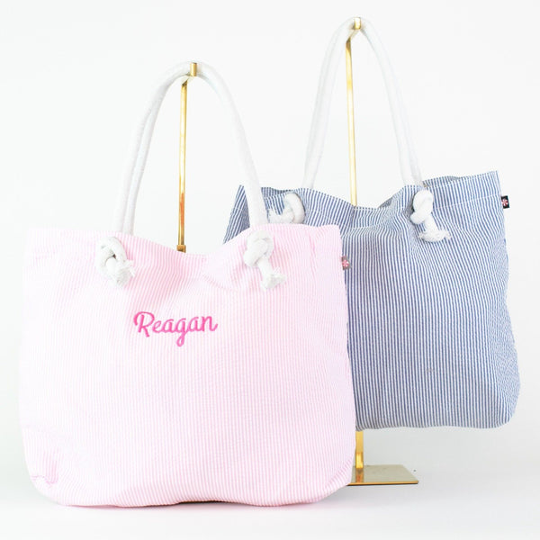 Seersucker Rope Tote - Pink and Navy - Personalized or Monogrammed