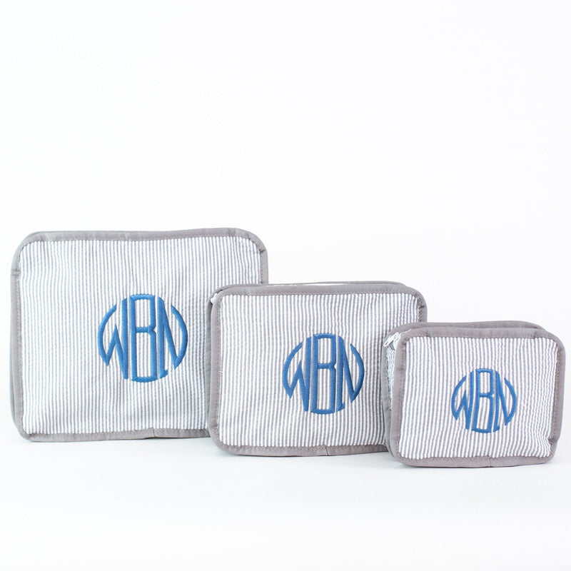 3-piece Stacking Set, Seersucker, Monogrammed, Gray