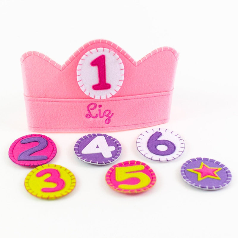 Yearly Birthday Crown - Personalized - Pink