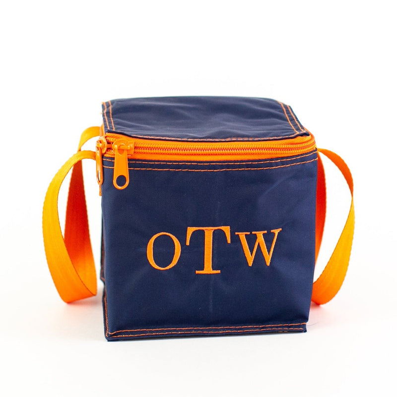 Snack Square - Monogrammed - Navy & Orange