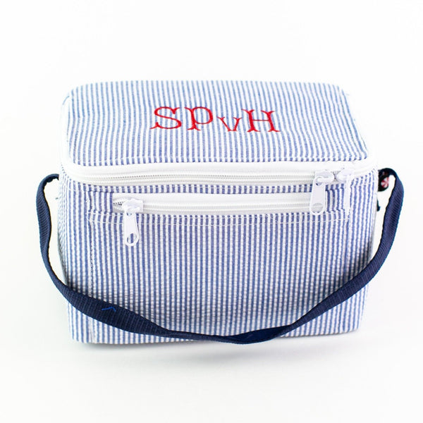 Rectangular Lunch Box - Navy Seersucker - Monogram or Personalized