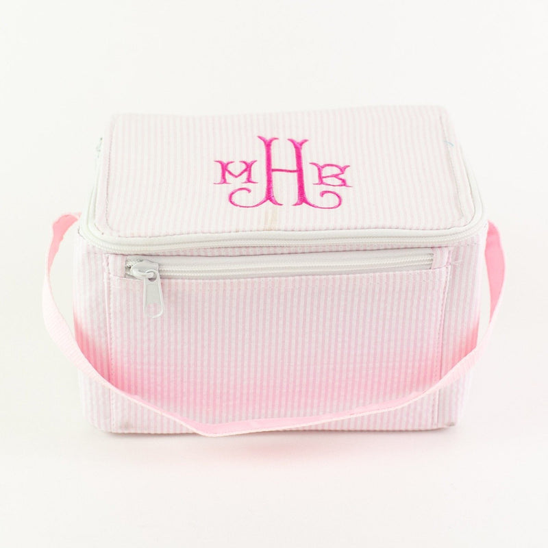 Rectangular Lunch Box - Pink Seersucker - Monogram or Personalized