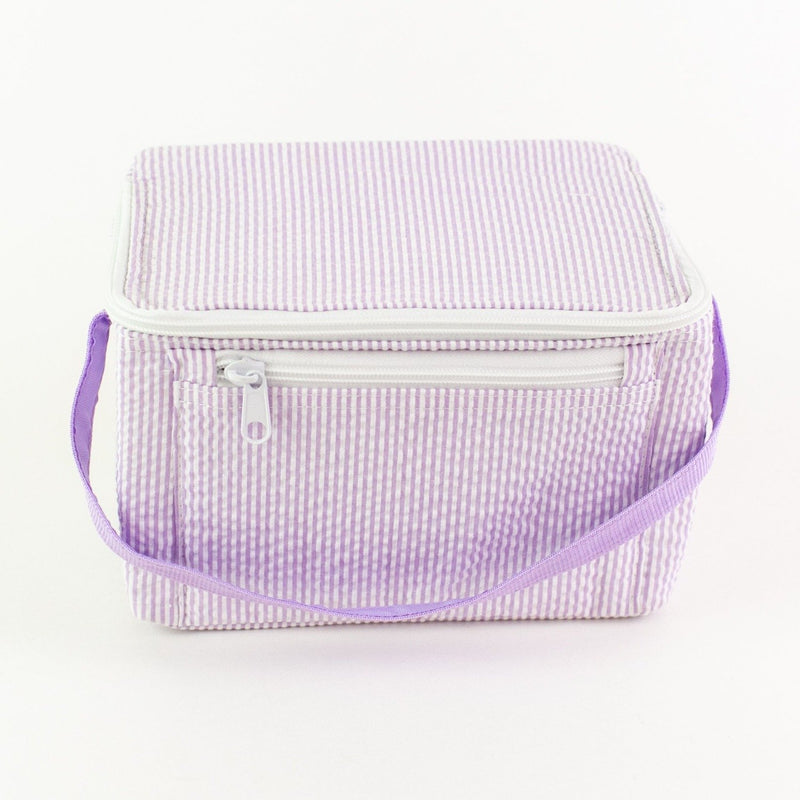 Rectangular Lunch Box - Lilac Seersucker - Monogram or Personalized
