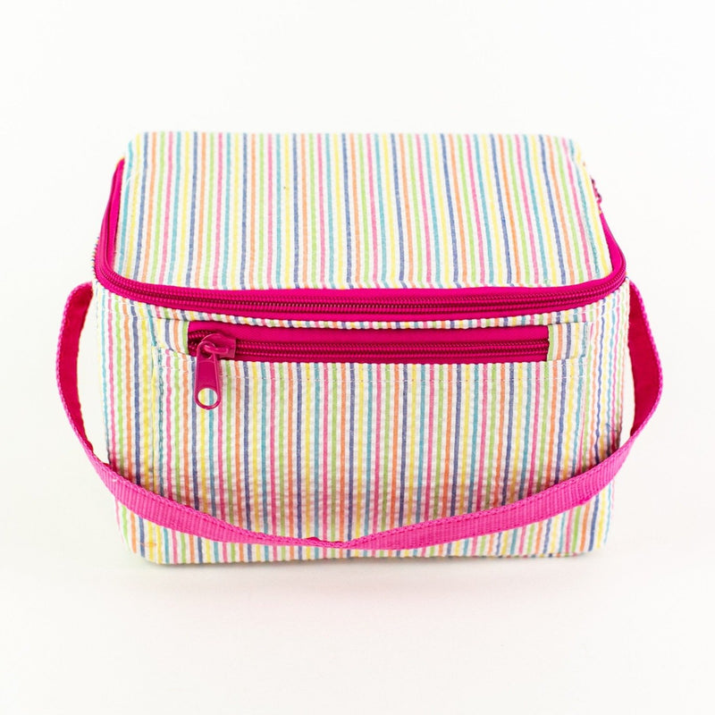 Rectangular Lunch Box - Rainbow Seersucker - Monogram or Personalized