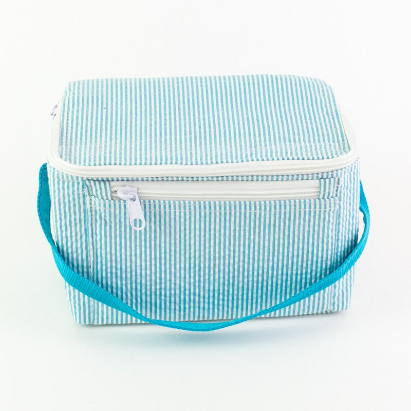 Rectangular Lunch Box - Aqua Seersucker - Monogram or Personalized