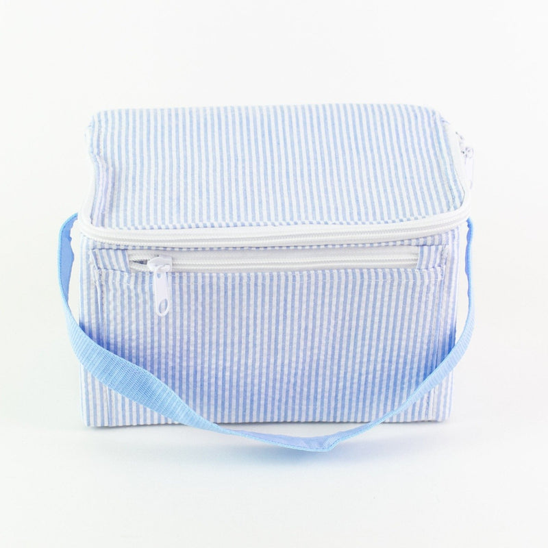 Rectangular Lunch Box - Blue Seersucker - Monogram or Personalized