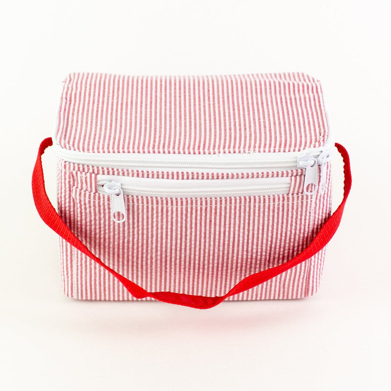 Rectangular Lunch Box - Red Seersucker - Monogram or Personalized