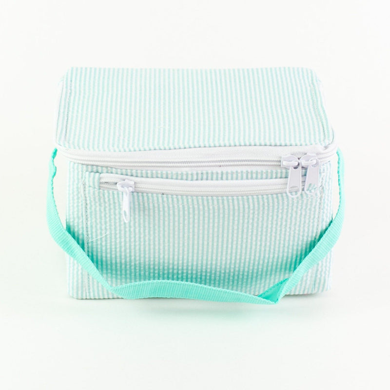 Rectangular Lunch Box - Mint Seersucker - Monogram or Personalized