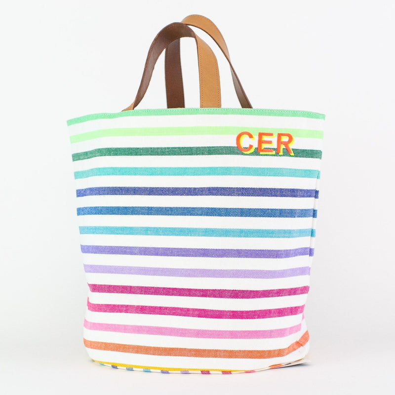 Striped Market Bag - Monogrammed or Personalized - El Roberto (rainbow)