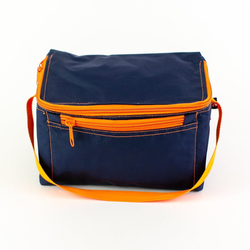 Rectangular Lunch Box - Navy & Orange - Monogram or Personalized