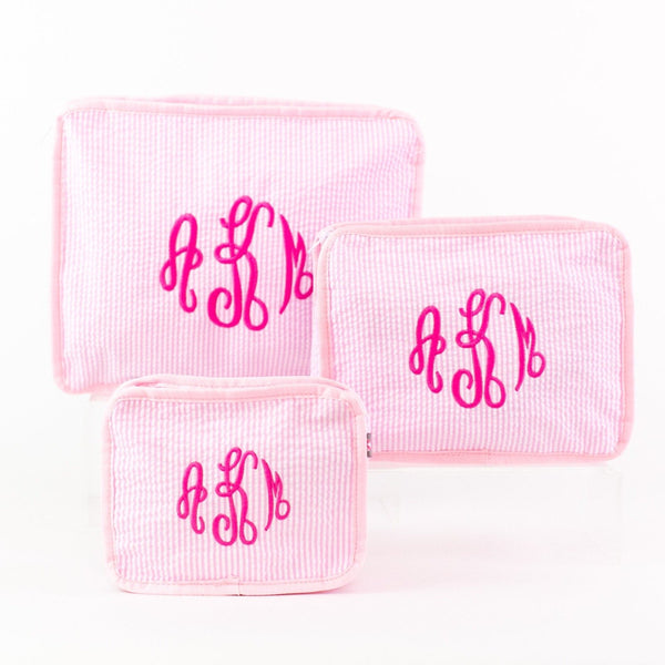 3-piece Stacking Set, Seersucker, Monogrammed, Pink