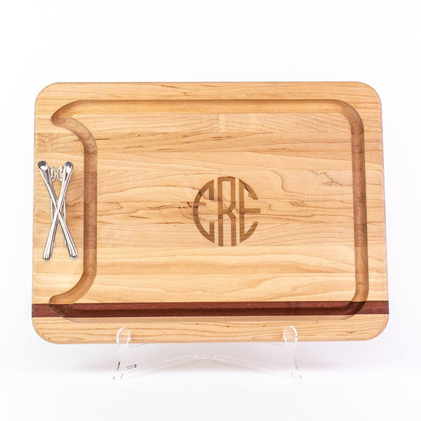 Single Handle Appetizer Board - Maple/Mahogany - Monogram
