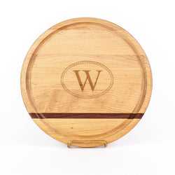 "12"" Wooden Circle Cheese Board with Monogram"