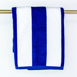 Velour Stripe Beach Towel - Monogrammed or Personalized - Royal