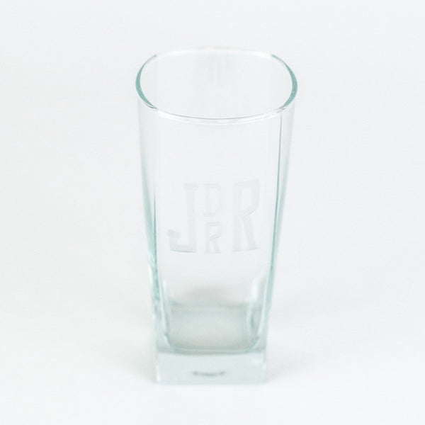 Monogrammed square cocktail glass