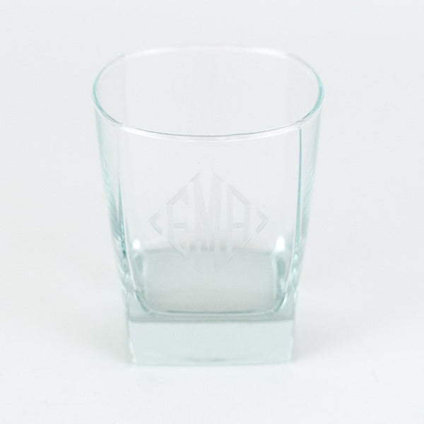 Square old fashioned rocks glass - Monogrammed