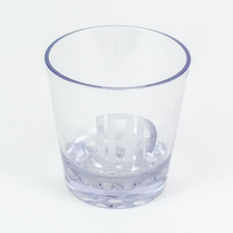 Etched Acrylic 12 oz. DOF Rocks Glasses - Monogrammed