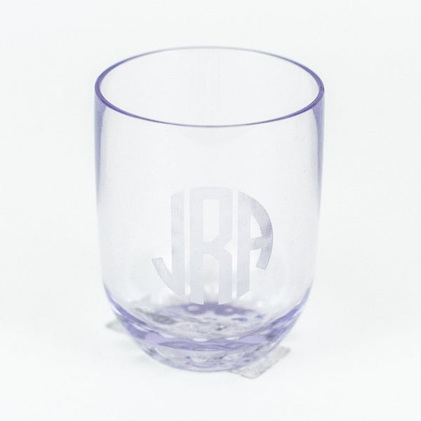 Monogrammed Etched Acrylic 12 oz. Stemless Wine Glasses