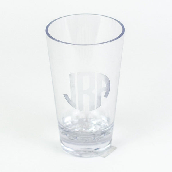 Monogrammed Etched Acrylic 16 oz. Pint Glasses