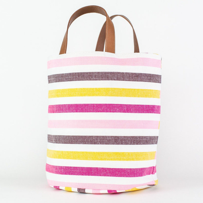 Striped Market Bag - Monogrammed or Personalized - El Marcelo (pinks and chocolate)