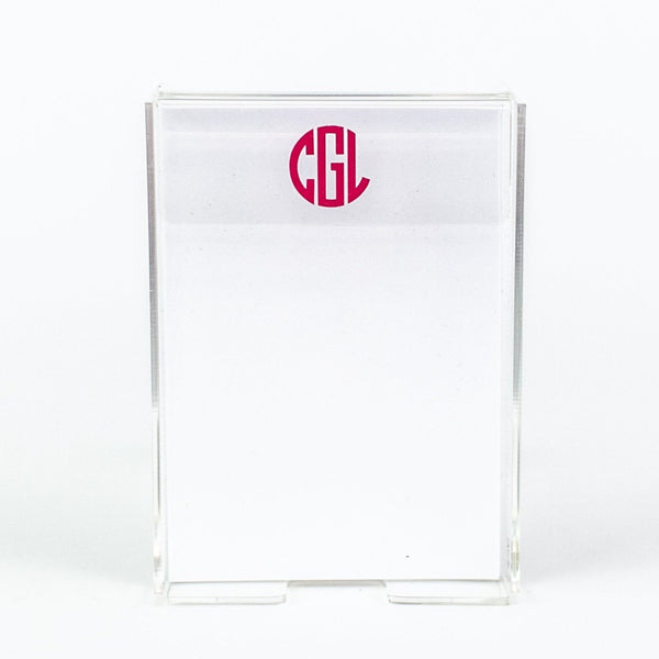 Lucite Note Paper Holder - Vinyl Monogram