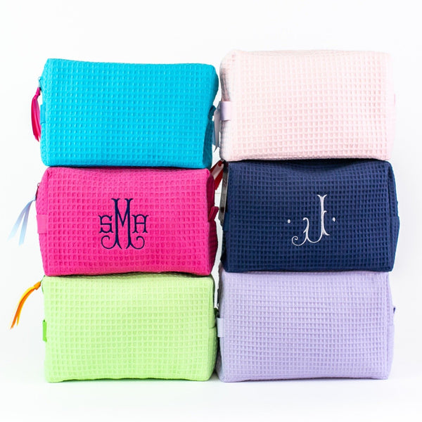 Large Waffle Cosmetic Bag - Monogrammed - Multiple Colors