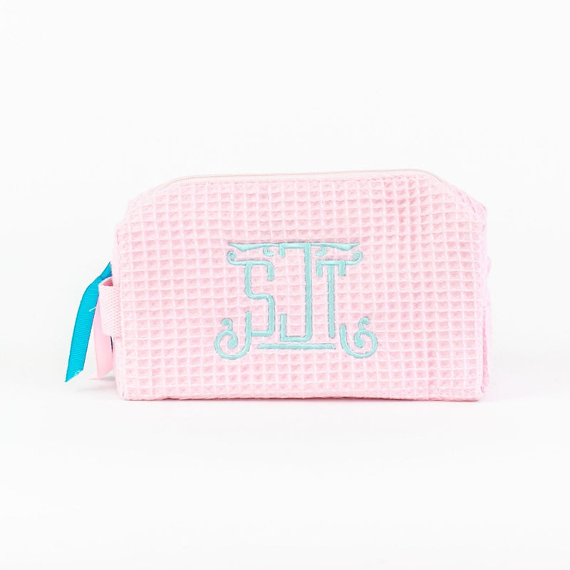 Small Waffle Travel Bag - Monogrammed - Light Pink