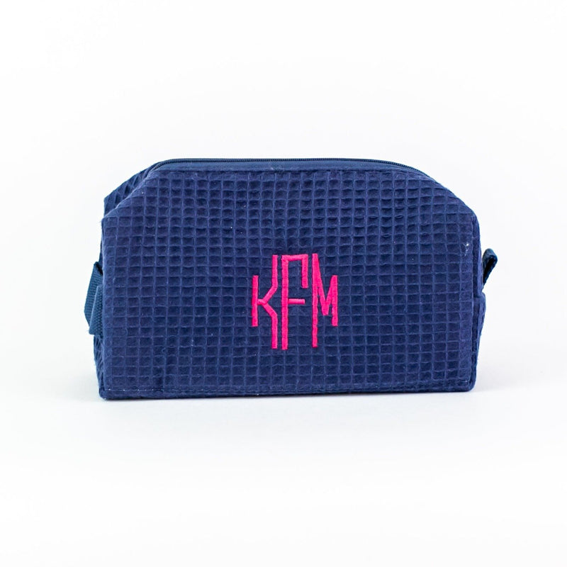 Small Waffle Travel Bag - Monogrammed - Navy