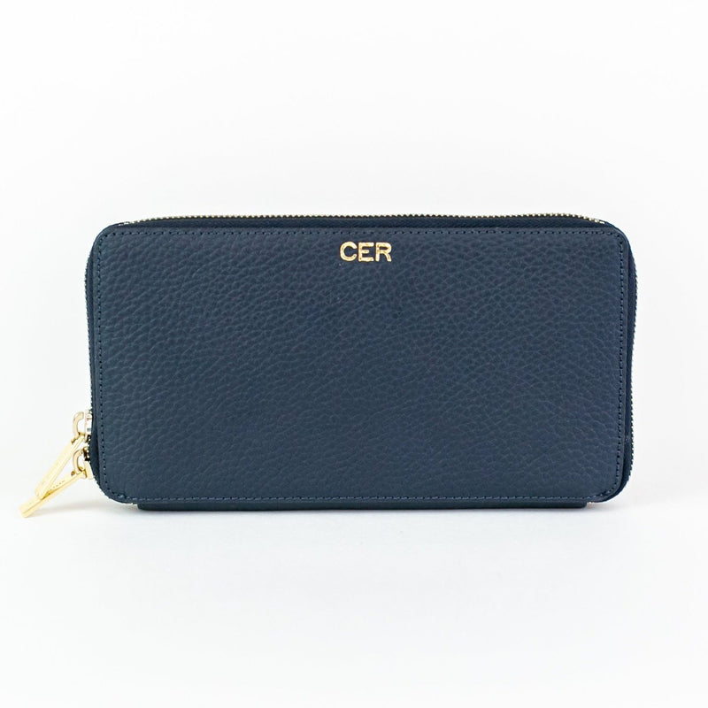 Personalized Leather Zip Wallet - Navy