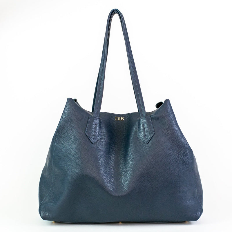 Large Pebbled Leather Tote - Navy - Personalized