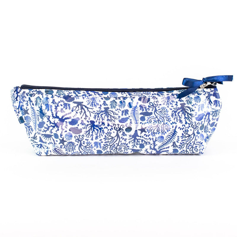 Blue Seashells Coated Travel Bag - long brush
