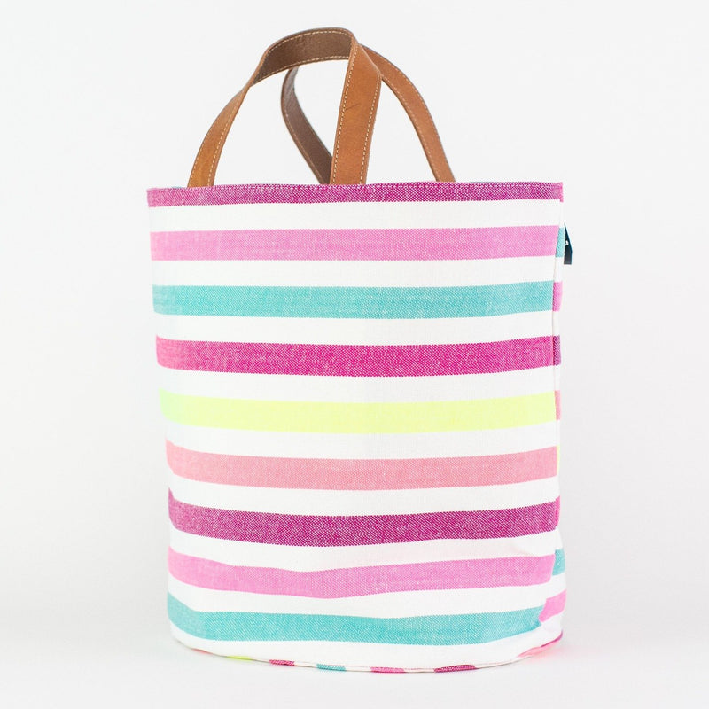 Striped Market Bag - Monogrammed or Personalized - El Alan (pinks, turquoise, and yellow)