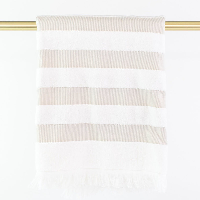 Matouk Amado Beach Towel - Monogrammed - Pebble