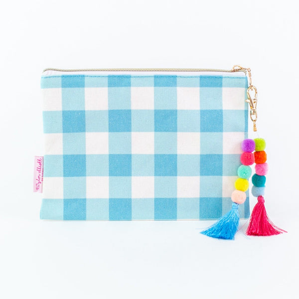 Blue gingham canvas zip