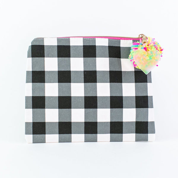 Large Canvas Zip - Black Gingham - Monogrammed