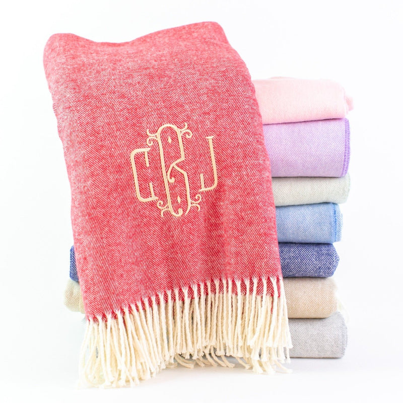 Monogrammed Herringbone Throw Blanket - Available in Many Colors
