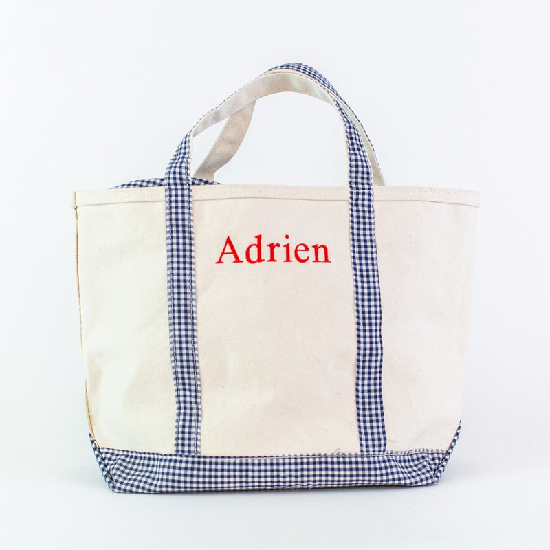 Monogrammed Gingham Medium Canvas Boat Tote - Navy