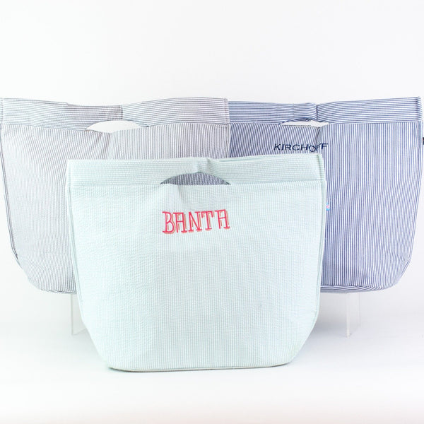 Large Seersucker Insulated Tote - Several Colors - Personalized