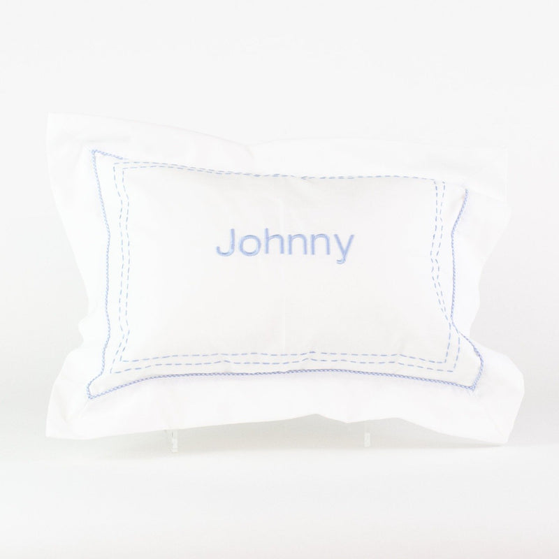 Stitched Boudoir Pillow - Monogrammed or Personalized - Blue