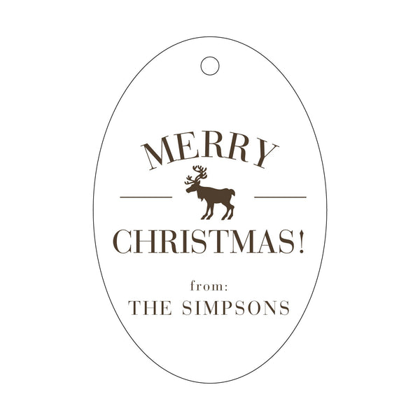 Personalized Merry Christmas Reindeer Letterpress Gift Tags