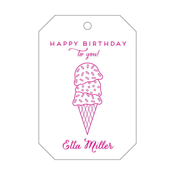 Happy Birthday Ice Cream Cone Letterpress Gift Tags - Personalized