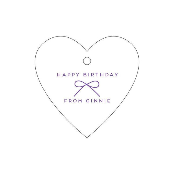 Happy Birthday Bow Letterpress Gift Tags - Personalized
