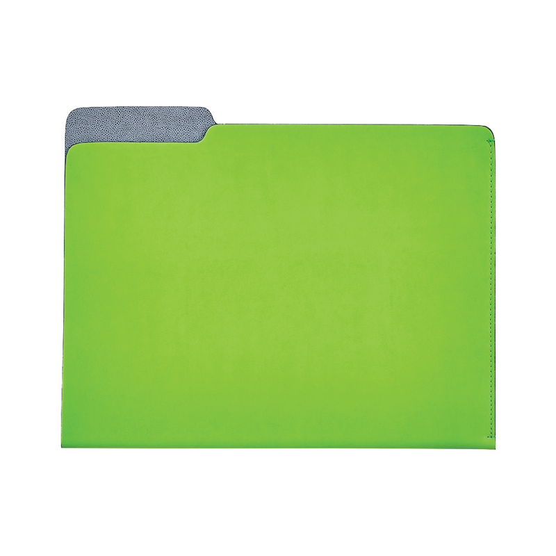 Carlo Leather File Folder - Lime - Personalize