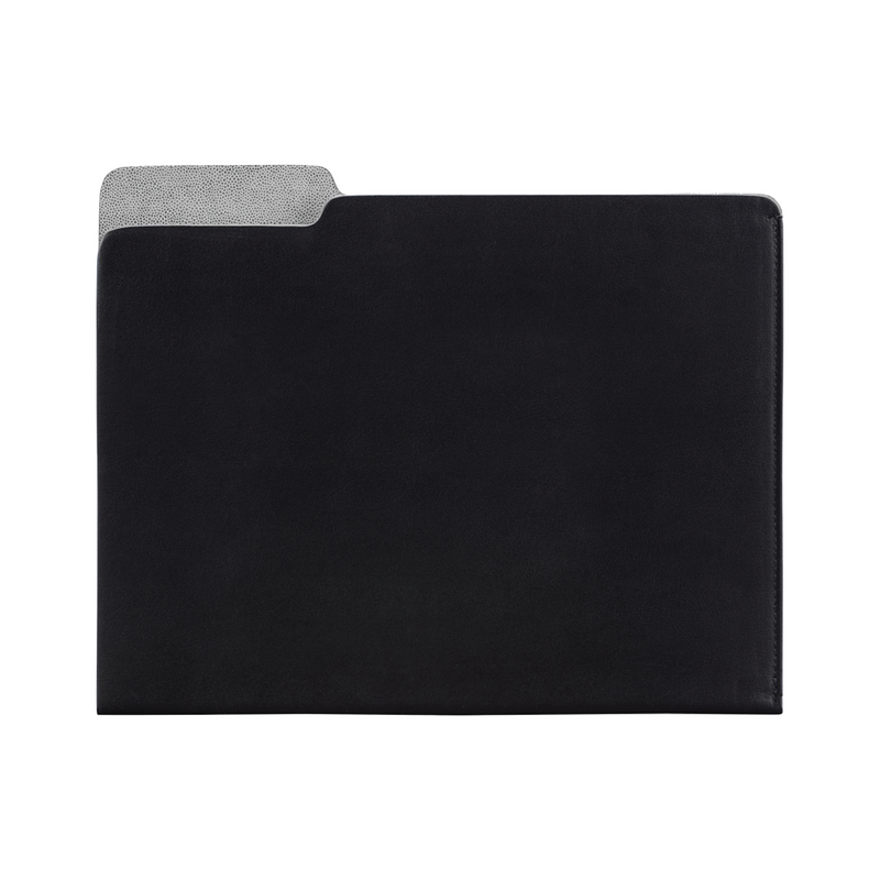 Carlo Leather File Folder - Black Leather - Personalize