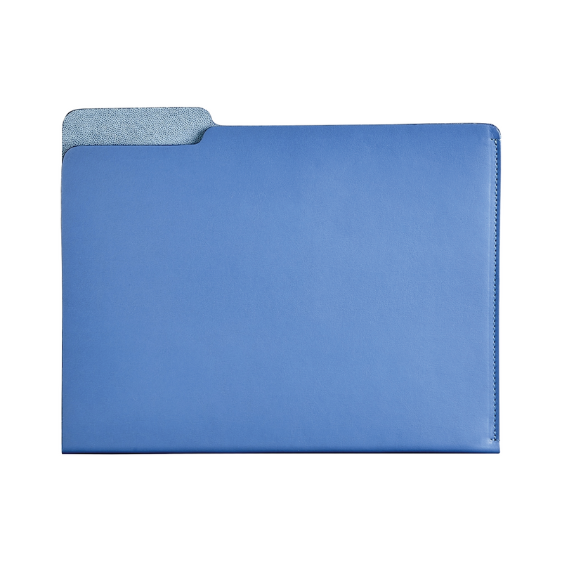 Carlo Leather File Folder - Blue - Personalize