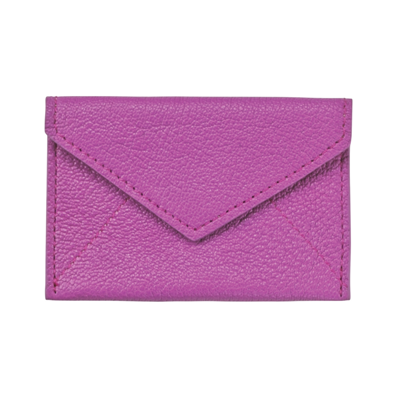 Business Card Envelope - Orchid Goatskin Leather