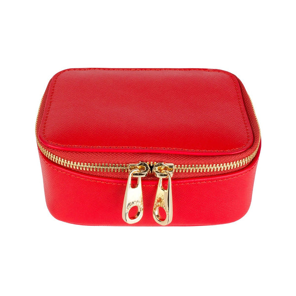 Grace Saffiano Leather Jewelry Case - Red