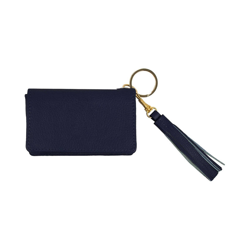 Disco Leather Wallet - Personalized - Navy