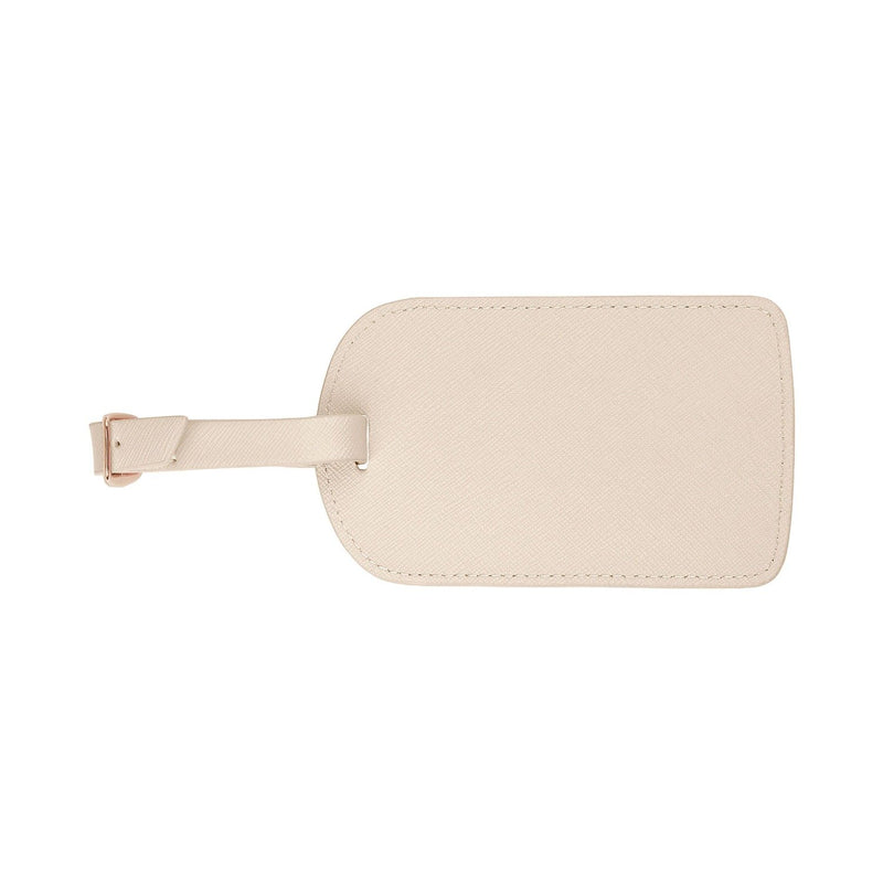 Monogrammed Amelia Leather Luggage Tag - Ivory