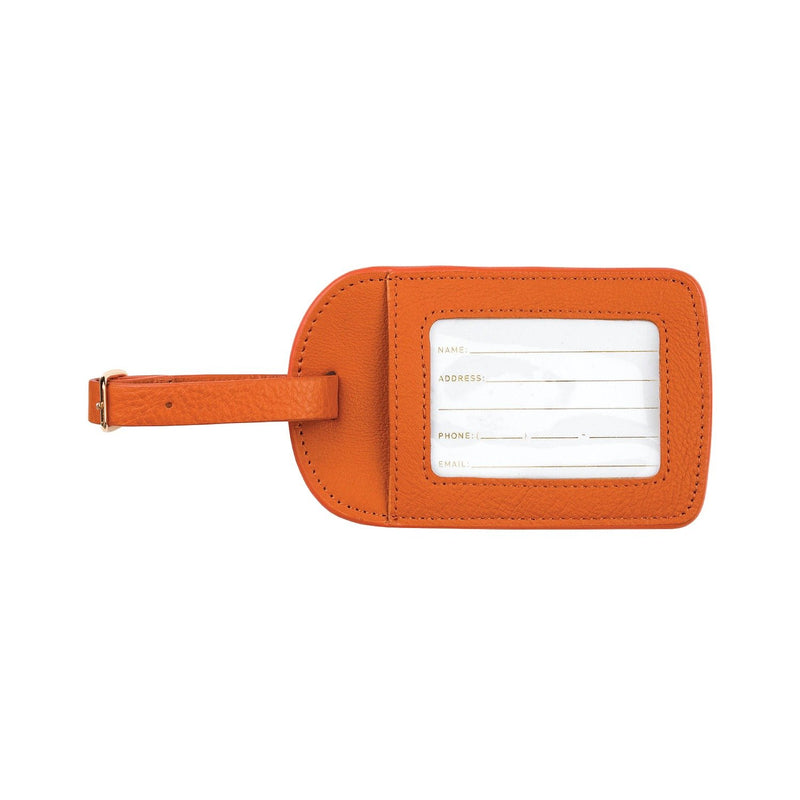 Monogrammed Amelia Leather Luggage Tag - Mango Pebbled